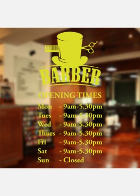Custom Barber Shop Opening Times Wall Sticker