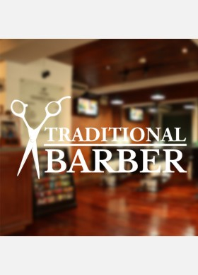 Traditional Barber Shop Wall Decal