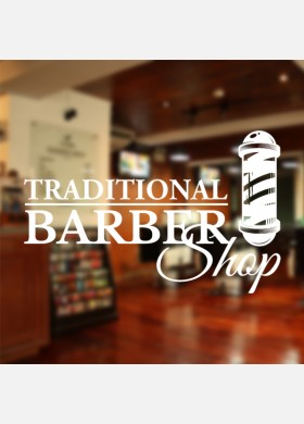 Traditional Barber Shop With Pole Wall Decal