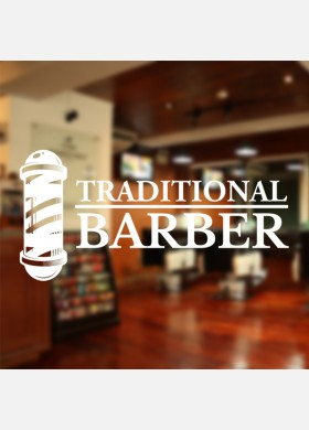 Traditional Barber With Pole Wall Decal