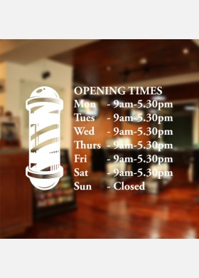 Custom barber shop opening times wall sticker decal