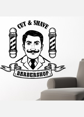 Barber Shop wall sticker hipster beard graphics quote decal art bb22