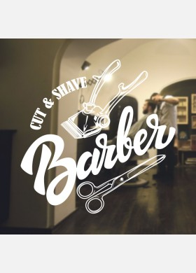 Barber Shop wall sticker hipster beard graphics quote decal art bb23