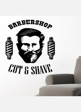 Barber Shop wall sticker hipster beard graphics quote decal art bb24