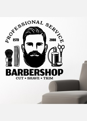 Barber Shop wall sticker hipster beard graphics quote decal art bb26