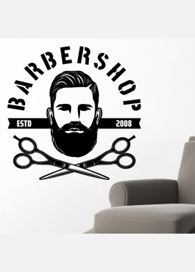 Barber Shop wall sticker hipster beard graphics quote decal art bb32