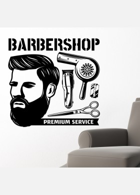 Barber Shop wall sticker hipster beard graphics quote decal art bb33