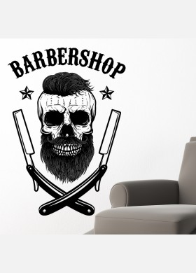 Barber Shop wall sticker hipster beard graphics quote decal art bb38