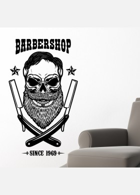 Barber Shop wall sticker hipster beard graphics quote decal art bb42