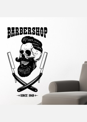 Barber Shop wall sticker hipster beard graphics quote decal art bb43