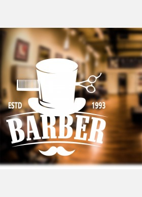 Barber Shop Hat and Moustache Wall Sticker