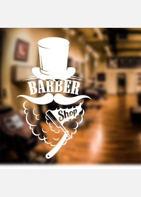 Barber Shop Sign Wall Sticker Shave Beard