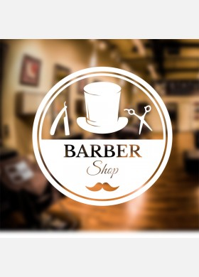 Barber Shop Round Logo Wall Sticker