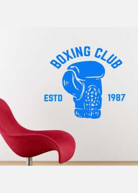 Boxing wall sticker club sport gym fight weights graphics decal art