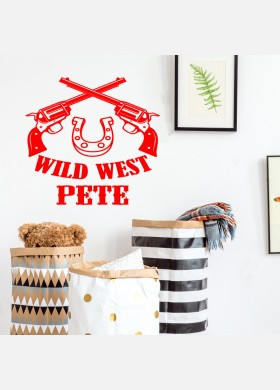 Custom Cowboy Name Personalised Wall Sticker Kids Nursery Boys Bedroom Decal cb4