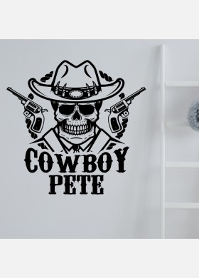 Custom Cowboy Name Personalised Wall Sticker Kids Boys Bedroom Decal cb5
