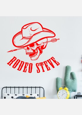 Custom Cowboy Name Personalised Wall Sticker Kids skull Boys Bedroom Decal cb6