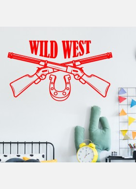 Cowboys Wall Sticker Kids wild west indians Boys Bedroom Decal cb7