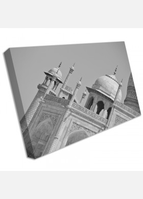 Taj Mahal Landmark India Black and White Panorama Canvas Wall Art Home Decor cit35