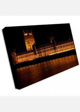 Houses Of Parliament London at night Canvas Art Print cit36