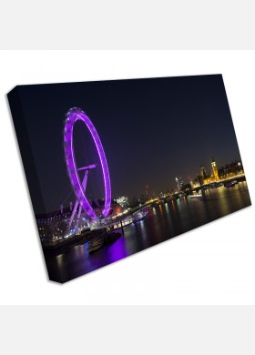 London Eye Night Sky City Panoramic LARGE Framed Canvas Art Picture Print Purple cit37