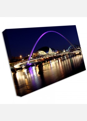Newcastle Quayside Tyne Bridge Panoramic Canvas Print Framed Wall Art Picture cit4