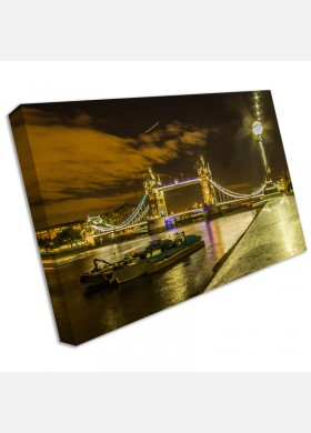 London City UK Night River Thames Tower Bridge Canvas Picture Wall Art Print cit40