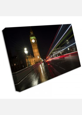 London Bridge at night big ben red bus canvas art print large cit41