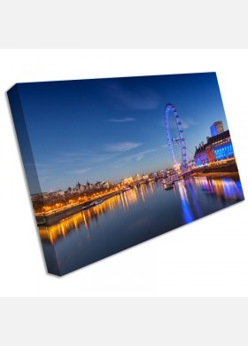 London Eye River Thames Big Ben Canvas Picture British City Wall Art Print cit45