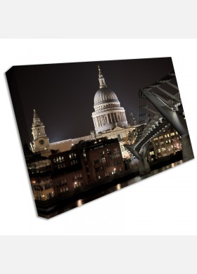 Large London St Pauls Night Canvas Wall Art Pictures cit5