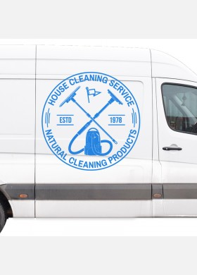 Cleaning company wall sticker van ironing service graphics decal art cl3