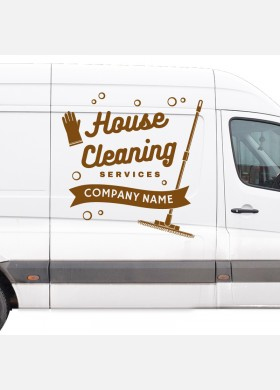 Custom Cleaning company wall sticker van service graphics decal art cl4