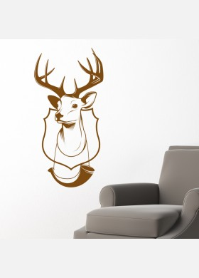 Stag head antlers deer with horn trophy Wall Sticker