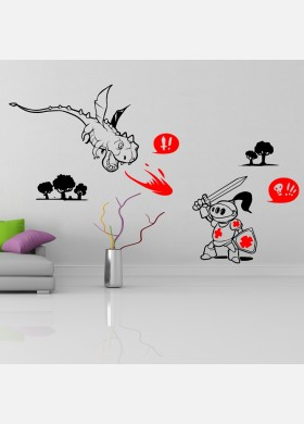 Knight and Dragon Wall Sticker