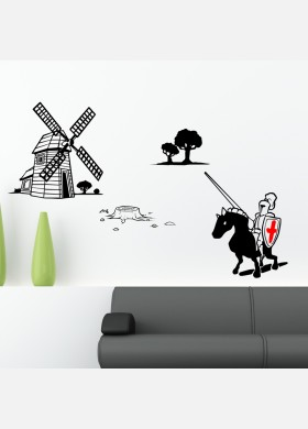 Knight and Windmill Wall Sticker