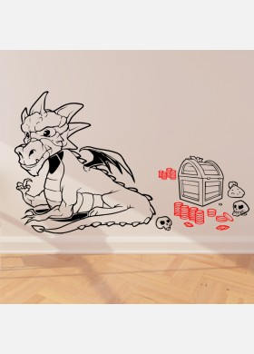 Large Dragon With Gold Wall Sticker