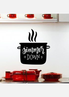Simmer down pots and pans kitchen wall sticker quote decal art