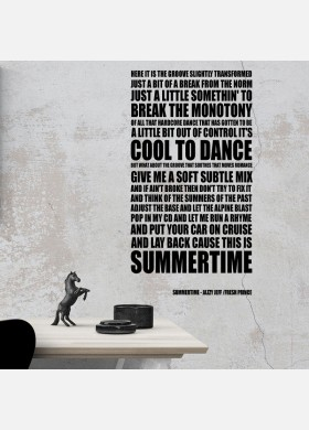 Summertime Jazzy Jeff Song Lyrics Typography Wall Sticker Decal Vinyl Artwork Graphics l100