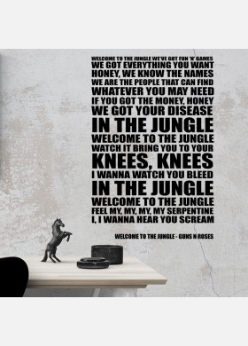 Guns n Roses Welcome To The Jungle Song Lyrics Typography Wall Sticker Decal Vinyl Artwork Graphics l109