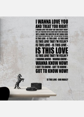 Bob Marley Is this Love Song Lyrics Typography Wall Sticker Decal Vinyl Artwork Graphics l113