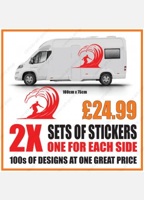 Motorhome graphics stickers decals camper van caravan surfing mg154