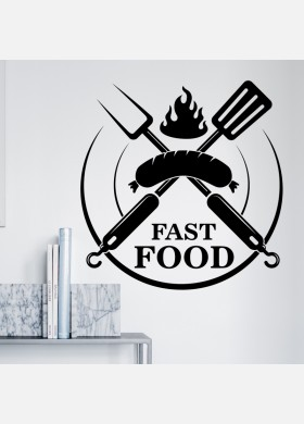 Fast Food wall sticker burger restaurant cafe takeaway van graphics decal art mt11
