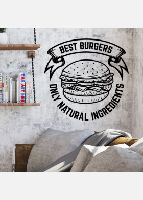 Burger bar wall sticker food restaurant cafe takeaway van graphics decal art mt2
