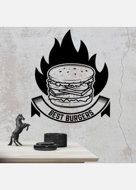 Burger bar wall sticker food restaurant cafe takeaway van graphics decal art mt3