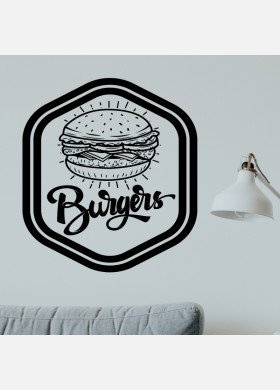 Burger bar wall sticker food restaurant cafe takeaway van graphics decal art mt4