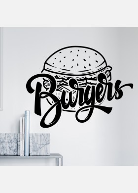 Burger bar wall sticker food restaurant cafe takeaway van graphics decal art mt6