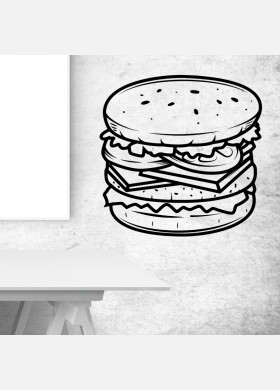 Burger bar wall sticker food restaurant cafe takeaway van graphics decal art mt7