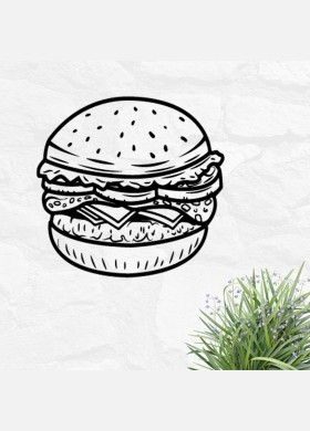 Burger bar wall sticker food restaurant cafe takeaway van graphics decal art mt8