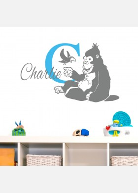 Personalised name wall sticker gorilla baby art boys girls nursery decal p1