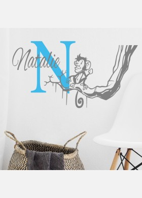 Personalised Initial name wall sticker monkey girls baby art nursery decal p10